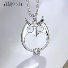 цены Magnifying glass necklace  for reading 2014 fashion Owl pendant necklace Rhodium plated with crystal Magnifier necklace