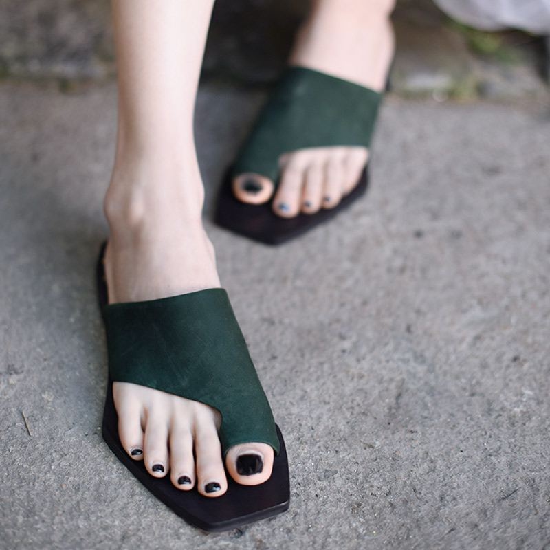 Artmu New Women Slippers Beach Slides Shoes Handmade Soft Soles Leather Shoes Genuine Leather Female Slipper Lady Green Fashion-in Flip Flops from Shoes    1