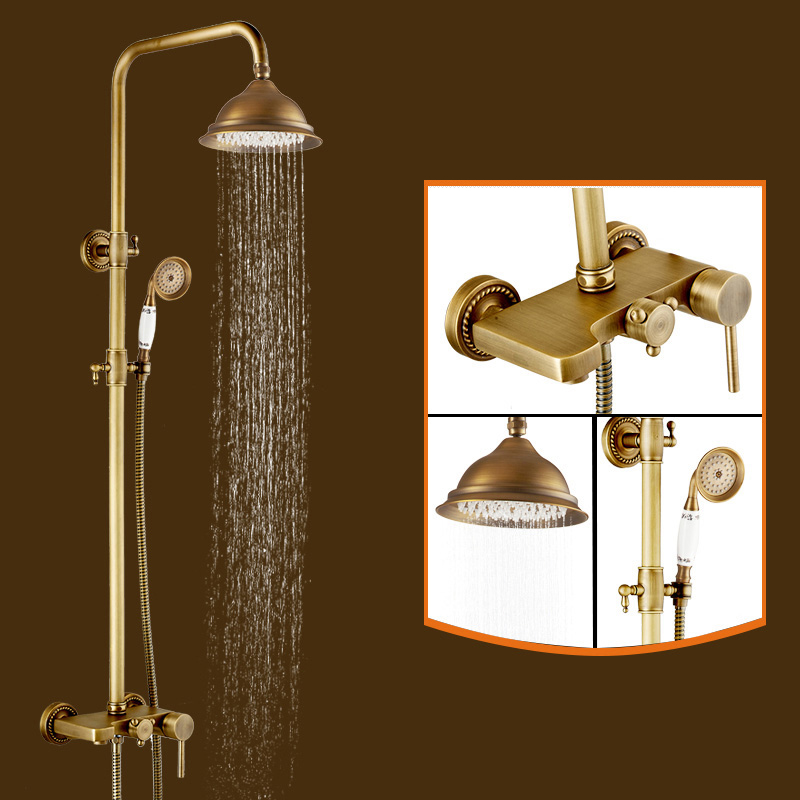 Antique Brass Shower Faucet Wall Mount Single Handle Mixer Tap+Hand Shower Sprayer china sanitary ware chrome wall mount thermostatic water tap water saver thermostatic shower faucet