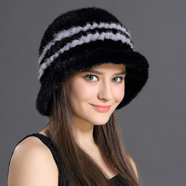 Russian Woman Hat Winter High Quality Striped Mink Fur Fashion Style Warming Thick With Brims New Real Fur Feminine Cap