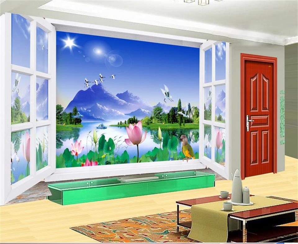 3d wallpaper custom photo non-woven mural 3D Windows flowers birds 3d TV backdrop wall murals wallpaper painting living room