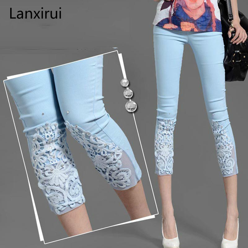 Women Lace pencil   Pants   Rhinestone Skinny Stretch Cropped Crochet Lace Diamond Leggings   pants     capris   Summer Plus Size S-4XL