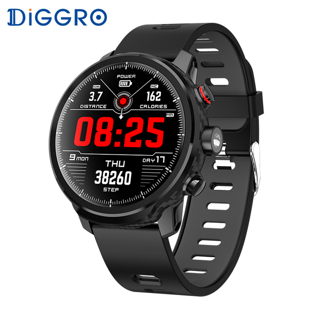 Diggro L5 Smart Watch IP68 Waterproof Heart Rate Fitness Tracker Message Call Reminder Weather Multiple Sport Smartwatch