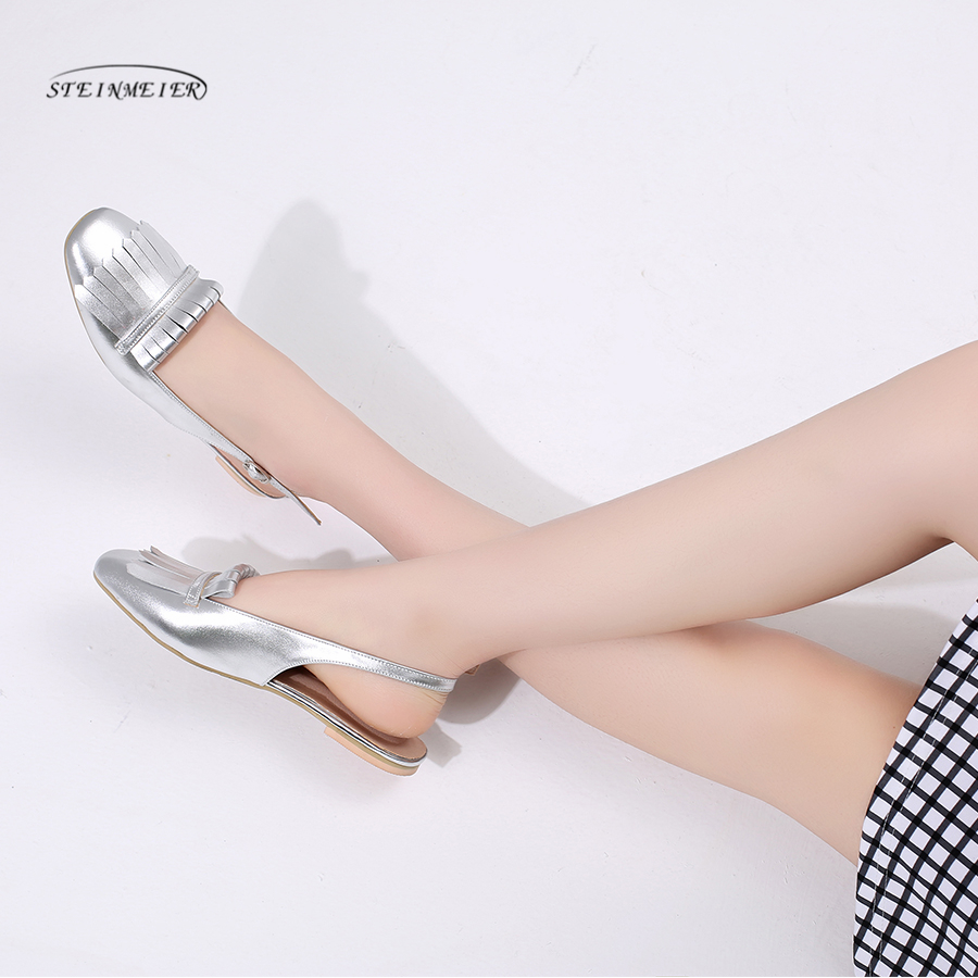 Women Retro falt sandals genuine leather tassel square toe fashion handmade Lady pink silver sweet Shoes