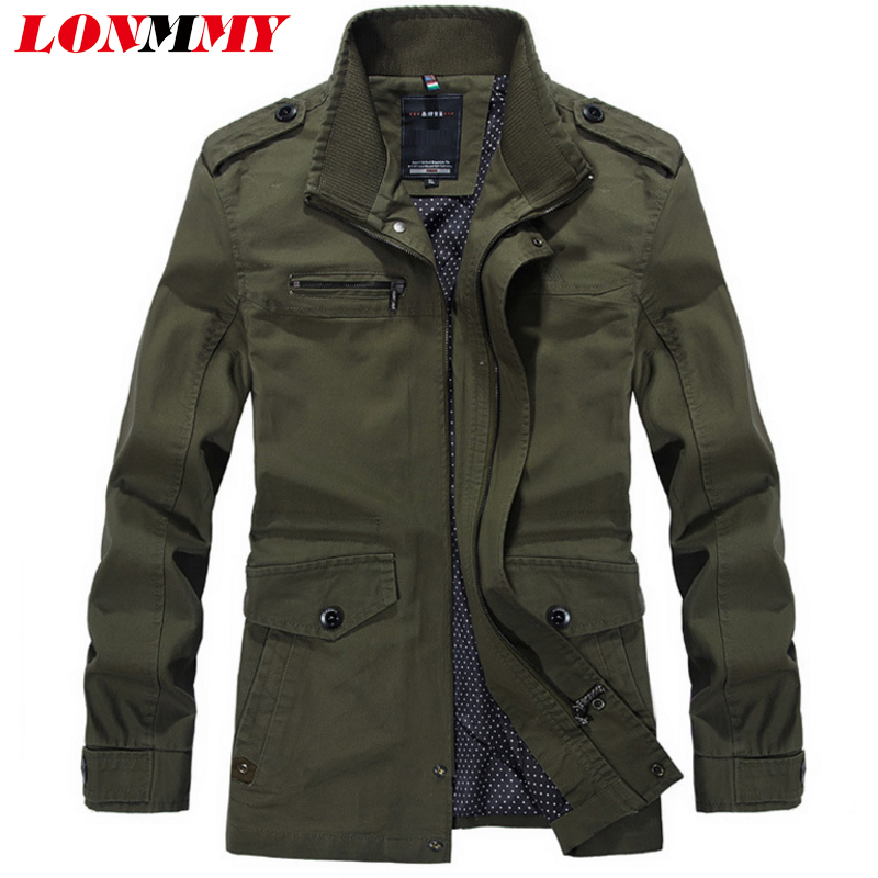 LONMMY Autumn mens jackets and coats Cotton Outerwear jaqueta masculina military trench casual jacket men coat Overcoat 2018 New