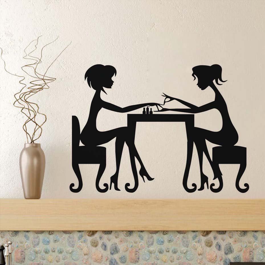 Fashionable Nail Salon Manicure Wall Stickers Poster Vinyl Removable Artist Manicure Lady Shop Window Wall Mural Home Decor ...