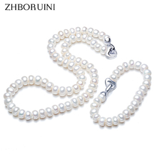 ZHBORUINI Fashion Necklace Pearl Jewelry set Natural Pearl Love Button 925 Sterling Silver Necklace Bracelet For Women Gift