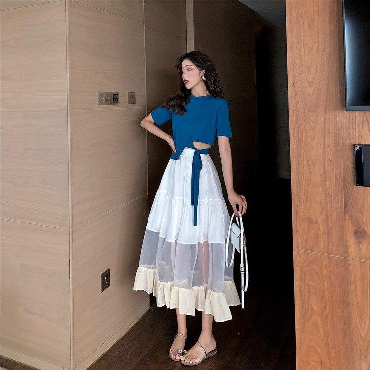8098 real shot very fairy waist tie short t-shirt + stitching organza big swing skirt