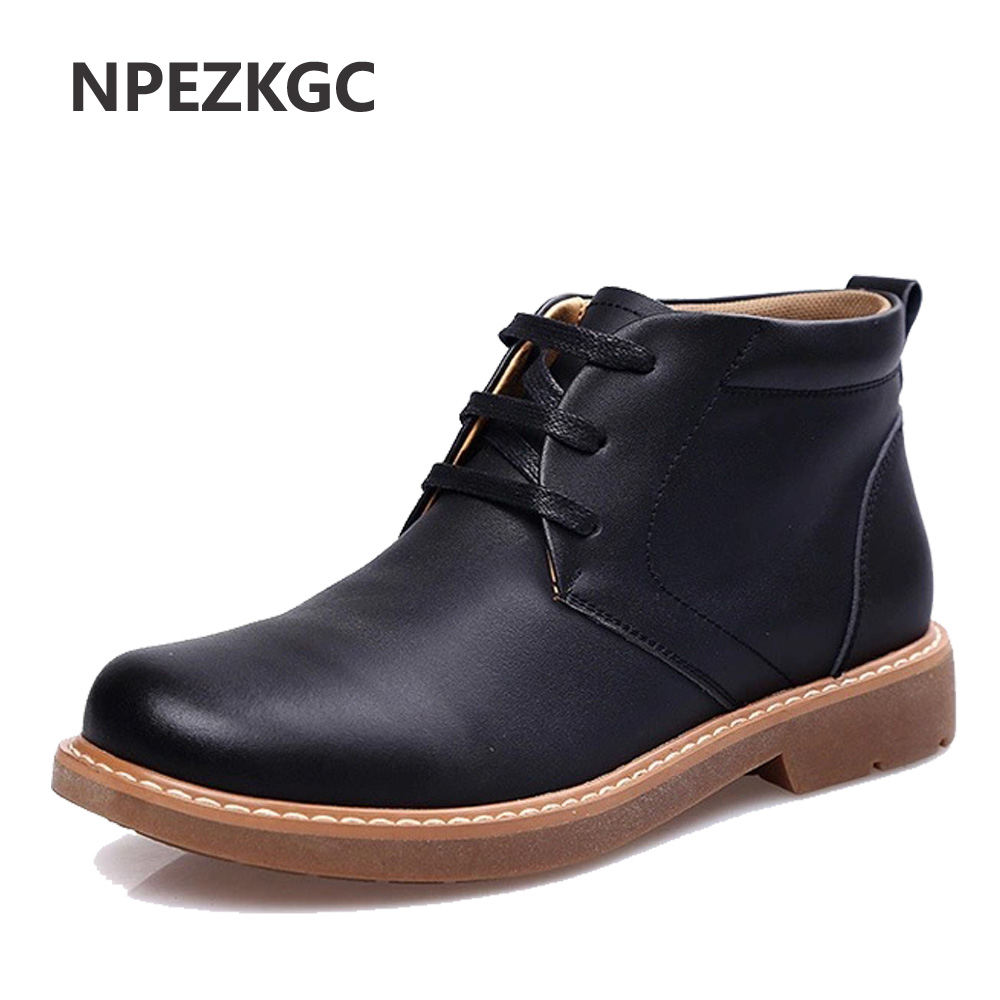 NPEZKGC Brand Super Warm Men's Winter Leather Men Waterproof Rubber Snow Boots Leisure Boots England Retro Shoes For Men стоимость