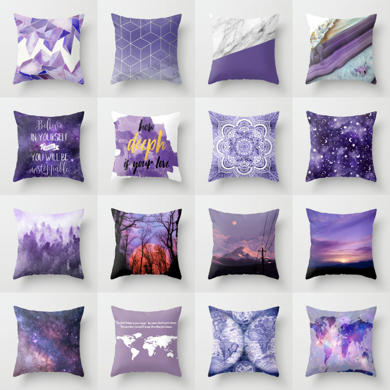 Elife Retro Purple Bohemian Mandala Linen Cotton Cushion Plum Home Decor Pillow Bedroom Decorative Sofa Car Throw Pillows