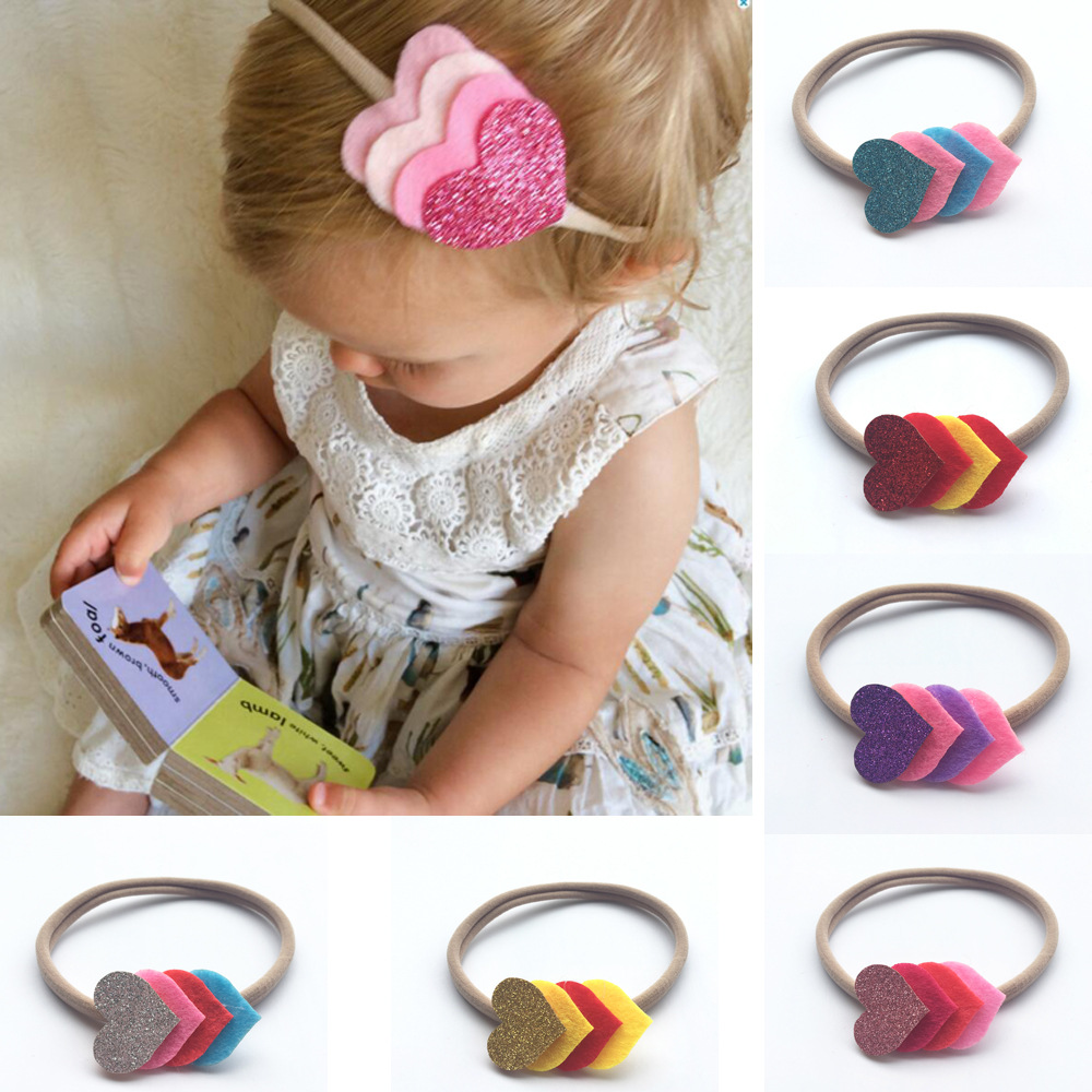Nylon Headband Bebe Cute Girls Elastic Hairbands Felt Sequins Hearts Children Solid Kids Head band Hair Accessories 8pcs/Lot bebe girls flower headband four felt rose flowers head band elastic hairbands rainbow headwear hair accessories