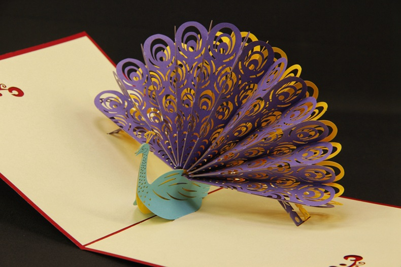 personalized 3d paper cut peacock greeting card folding