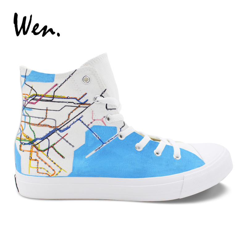 Wen High Ankle Canvas Sneakers Original Design NY City Map Subway Route Hand Painted Shoes White Plimsolls Men Women Zapatos cute marshmallow style silicone back case for iphone 5 5s yellow white