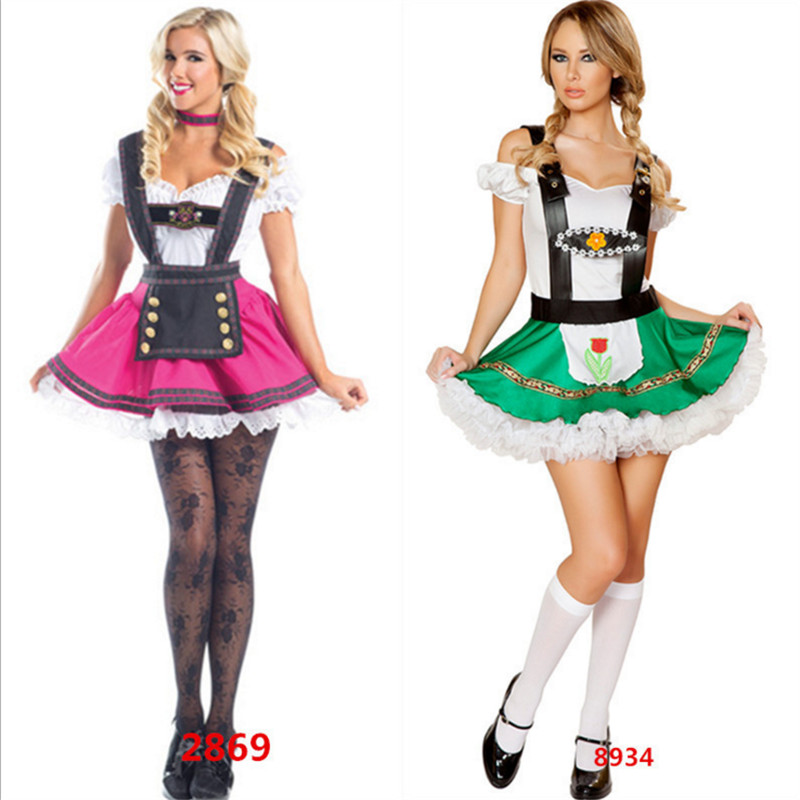 2018 new Sexy Women Beer Wench Costume  Beer Girl  Cosplay Dress Female Waiter Oktoberfest  clothing French Maid Dress Halloween