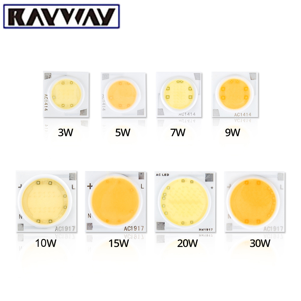 RAYWAY 5pcs Smart IC <font><b>LED</b></font> COB Chip 30W 25W 20W 15W 10W 7W <font><b>5W</b></font> AC 220V High Lumens <font><b>Cree</b></font> <font><b>LED</b></font> Chip For Bulb DIY Spotlight Light Bead image