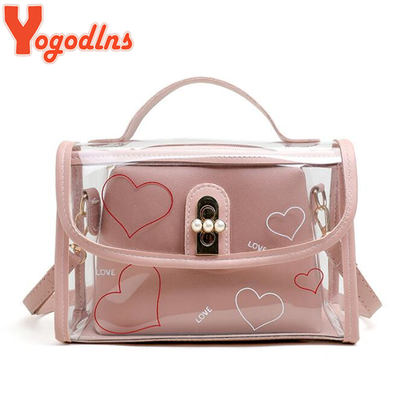 Yogodlns Heart Letter Print Women Shoulder Bag Transparent Jelly PVC Laser Crossbody Messenger Bag Girls Composite Flap Handbag