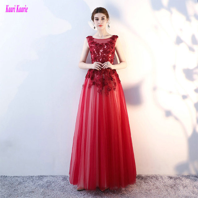 Gorgeous Crimson Plus Size Evening Party Dress 2018 Sexy Casual Evening  Gown Long Scoop Tulle Appliques Formal Dress Custom Made e8b5abe0c3df