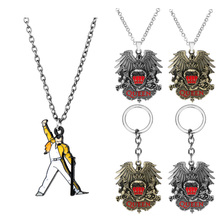 dongsheng Rock Band Queen Necklace Music Pendant Keychain Fashion Link Chain Necklaces for Women Men Charm Gifts Jewelry-30