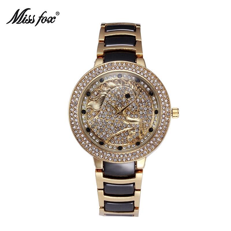 Miss Fox Horse Ceramic Women Watches Female Rose Gold Watch Black Diamond Butterfly Black Quartz Ceramic Watch Relogio Feminino