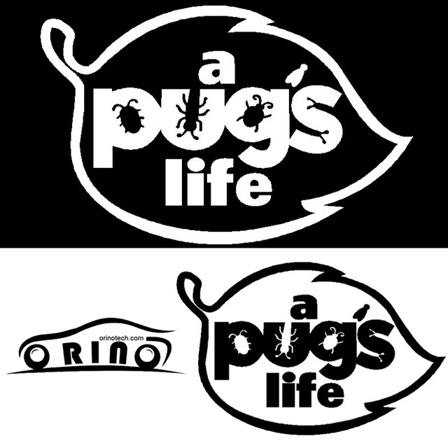 1pcs size 1015cm a pugs life reflective decals personalized car decal stickers for all