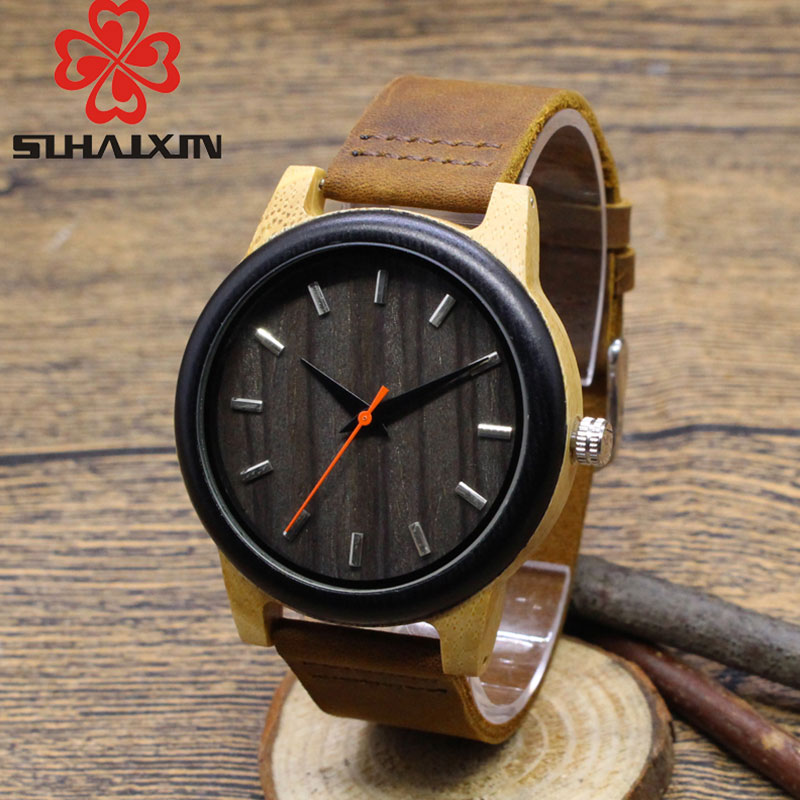 SIHAIXIN Nature Soft Genuine Leather Bamboo Wooden Quartz Man Watches Classic Fashion Black Clock Gift With Box Accept OEMWatch sihaixin wooden watch male timepiece simple black design men top brand wrist watches nature hand made bamboo quartz clock man de