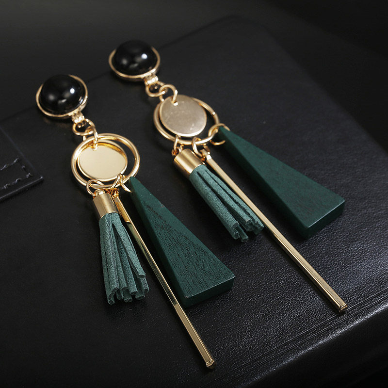 Personality Fashion triangle geometric wood earrings Retro female tassel long women earrings Jewelry(China)