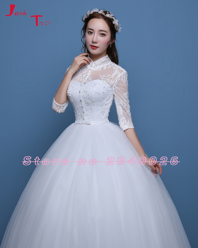 Jark Tozr Half Sleeve Cut out Back Appliques Bodice White Tulle ...
