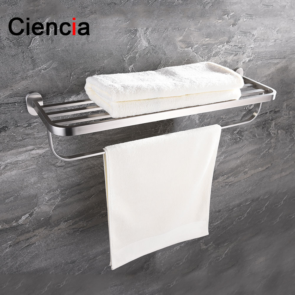 Free Shipping SUS304 Stainless Steel Wall Mounted Double Towel Rails Bars Hanger Bath Towel Rack Shelf Bathroom Accessories wall mounted towel bar stainless steel towel rack bathroom towel holders double rails bath storage shelf bathroom accessories