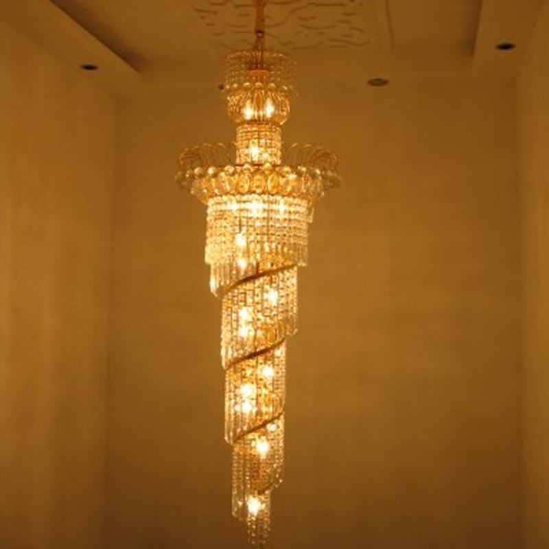 contremporary chandelier Gold crystal lamp hotel lobby chandeliers High End Luxury led Chandelier led Hanging Lamp Golden light