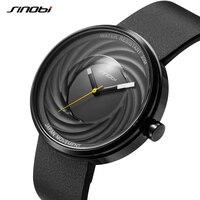 SINOBI Lens Men Women Japan Movt Watches Spiral Black Wristwatch Genuine Leather Quartz Unique Creative Sports Watches 2018 Saat