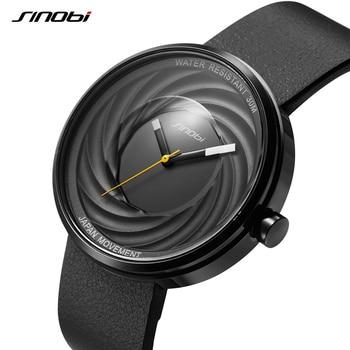 84513ed80f96 SINOBI lente hombres mujeres Japón Movt relojes negro espiral