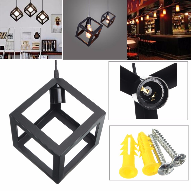 E27 Loft Industrial Retro Metal Iron Pendant Lamp Shade Edison Village Square Light Fixture Balcony Home Decor AC 110-220V держатель для душа tatkraft mega lock rain цвет серый металлик
