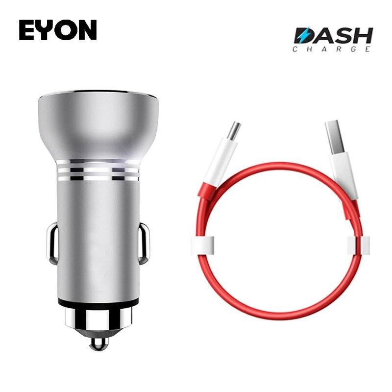 EYON Métal USB Dash Charge Chargeur De Voiture avec LED Affichage Pour OnePlus 5 3 T 1 + 3 D'origine Un Plus Type C Dash Rapide De Charge Câble