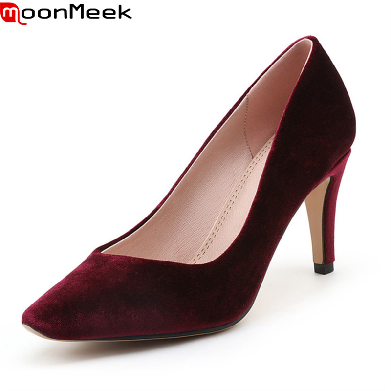 MoonMeek new hot fashion pumps women shoes high heels pointed toe slip on shallow thin heel mature flock party shoes woman shoes wholesale lttl new spring summer high heels shoes stiletto heel flock pointed toe sandals fashion ankle straps women party shoes
