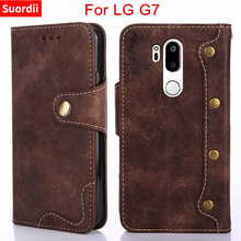 For LG G7 Case Wallet Style Rivet Texture Flip Leather Cover for LG G7 ThinQ G710 Magnetic Case 6.1inch With Card Holder