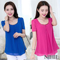 Fashion 2014 Summer Sheer Chiffon Women Blouse & Shirt Pleated Tops For Women Blouses Work Wear Plus Size Tulle Ladies Clothing