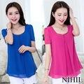 Verão Sheer Chiffon blusa e camisa plissada Tops para mulheres blusas de trabalho de