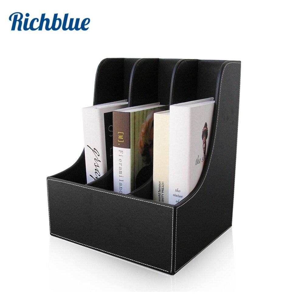 3-Slot bureau livre Magazine fichier Rack boîte organisateur Stand Case fichier étagère papier stand courbe support de livre