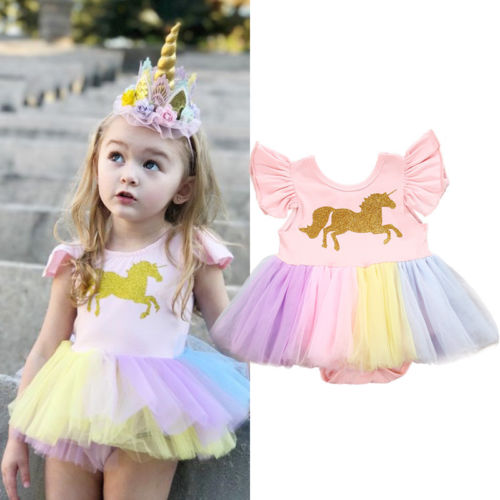 e274a791372 New Style Princess Pink Dress Baby Girls Cartoon Unicorn Rainbow Lace Tutu  Ruffles Half Sleeve Romper Dress Kid Birthday Party