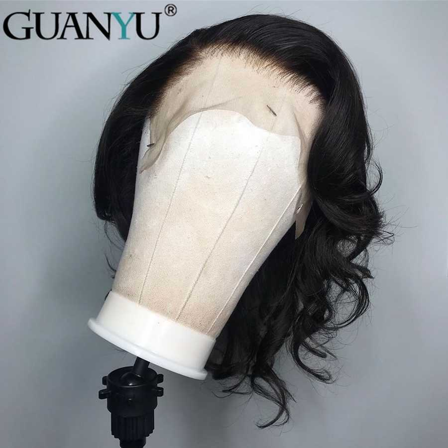 Wave Lace Front Human Hair Wigs For Black Women Pre Plucked With Full Frontal Baby Hair Remy Brazilian Hair Wavy Short Bob Wigs