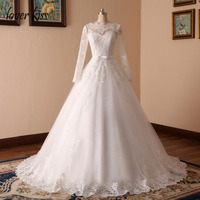 Vestido De Noiva Sheer Tulle Neck Sleeves Sexy Wedding Dress Lace Appliques Ball Gown Long Sleeves