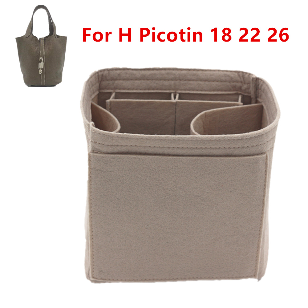 Fits For H Picotin 18 22 26  Insert Bags Organizer Makeup Bucket Luxury Handbag  Portable Cosmetic Base Shaper For Women Handbag