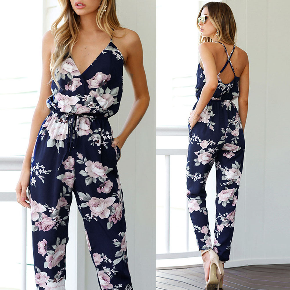 Sleeveless V-Neck With Floral Printed One-Piece 2