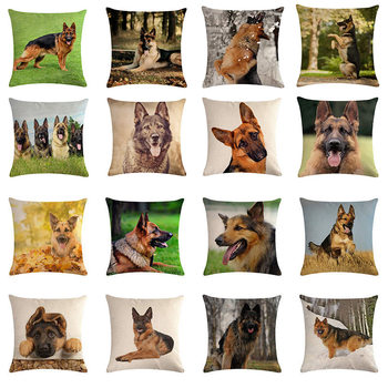 Dog Cushion Cover Wolfhound Decorative Throw Pillow Cover Cotton Linen 45x45cm Animal Pillowcase image