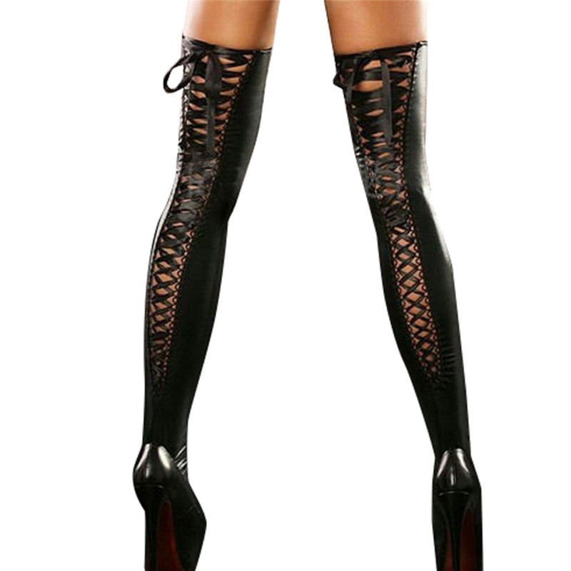 Sexy Club Women Comfort Thigh-high Hollow out Bandage Stockings Leather Lace Bow Long Nylon collant femme