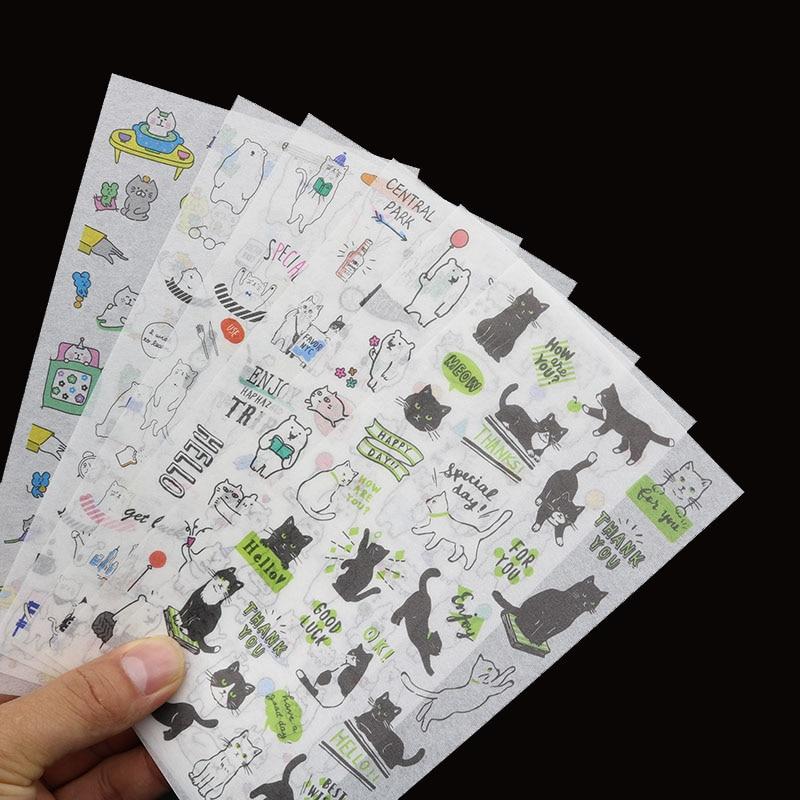 6pc / Bag, Cute Cartoon Reward Sticker Animal Transparent Sticker / Student Stationery Cartoon Decoration Diy Diary Scrapbook
