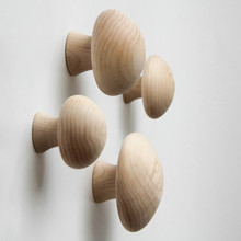 Woody Robe Hooks Home Decor Knobs Wall Hanger with Nail Natural Oak Wood Button Handrail Wall