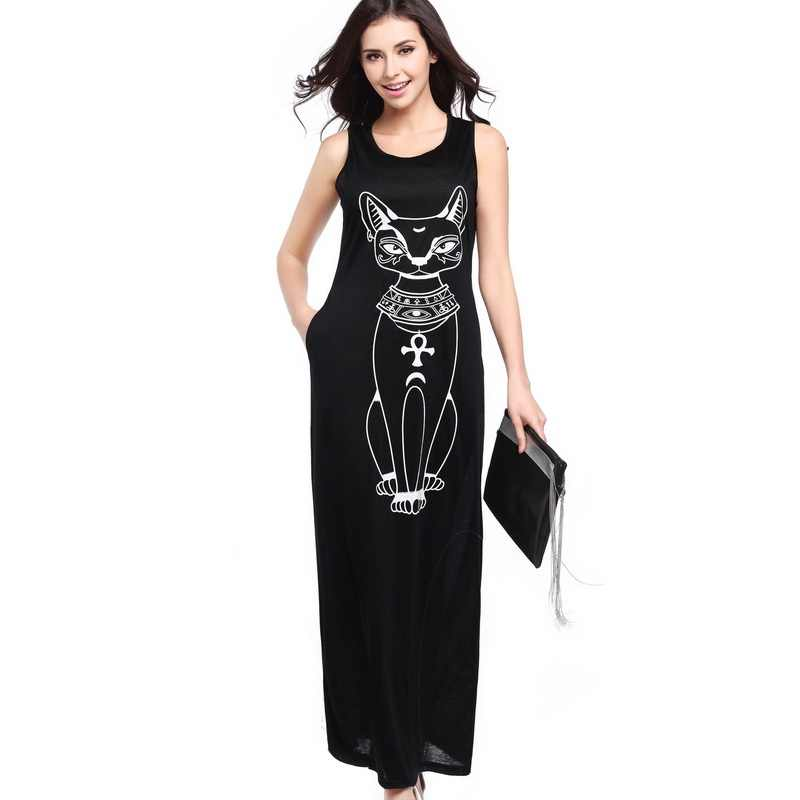 FESTY Cat Printed Loose Style Maxi Dress Round Neck Tank Sleeveless Female Casual Dress Bodycon Retro Long Dress Women