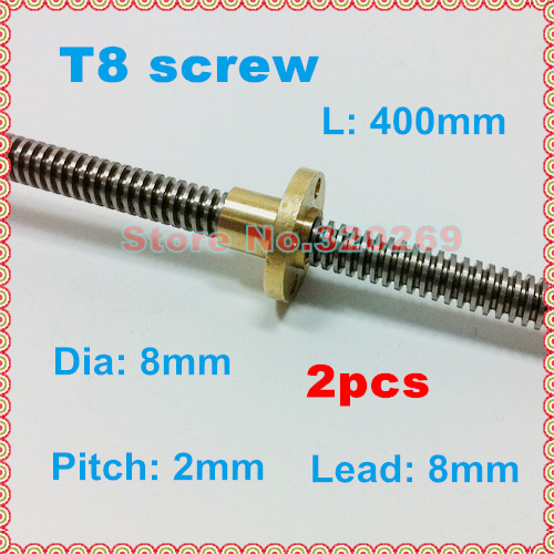 Trapezoid BZ 3D 400mm 8mm T8 Lead Screw Set Lead Screw+ Pillow Bearing Block Coupler for 3D Printer Part Copper Nut