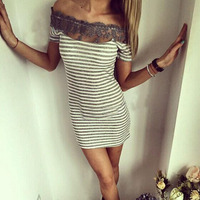 Lace Crochet Sheath Dress for Women Stripe Patchwork Hollow Out Mini Sundress Off Shoulder Slash Neck Above Knee Vestidos 40%Y